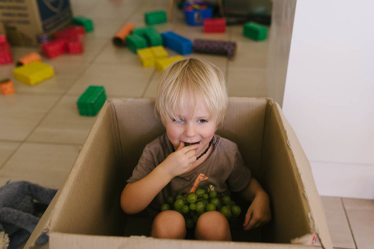 little boy plays in box - family documentary photography