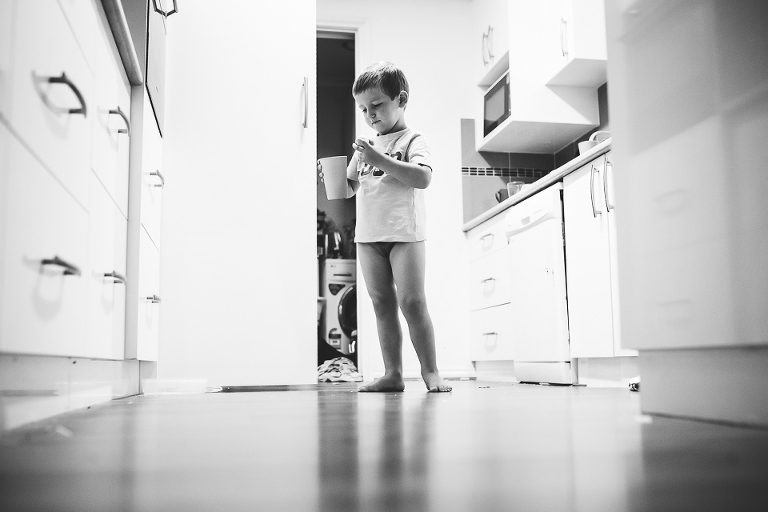 little boy in kitchen - Family Documentary Photography