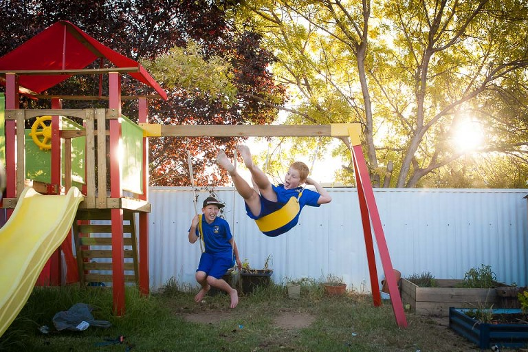 Kids on Swingset - Family Documentary Photography