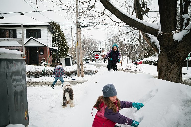 shoveling snow - Family Documentary Photography