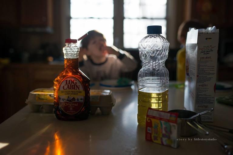 Boy eats pancakes - Family Documentary Photography