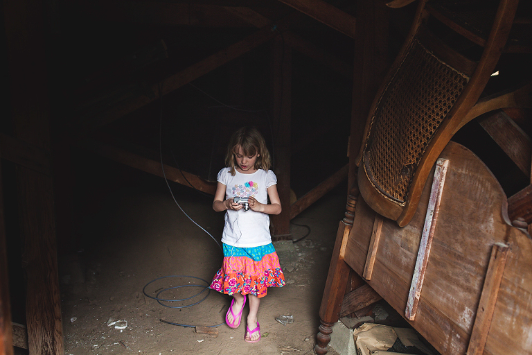 little girl in old building - Family Documentary Photography