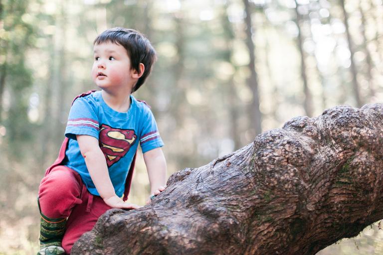 little boy on log - Family Documentary Photography