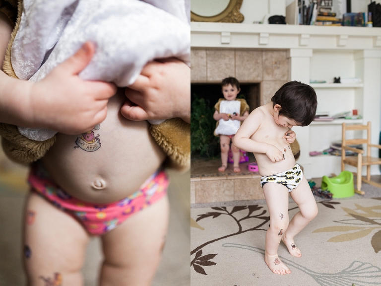 Kids with temp tattoos - Family Documentary Photography