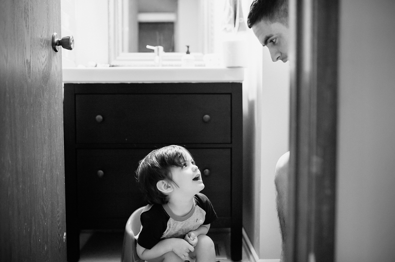 boy and father in bathroom - Family Documentary Photography