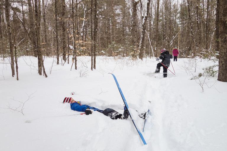 falling on skiis - family documentary photography