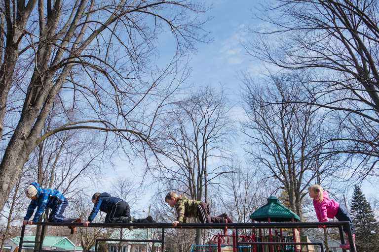 kids climbing on playground - Family Documentary Photography