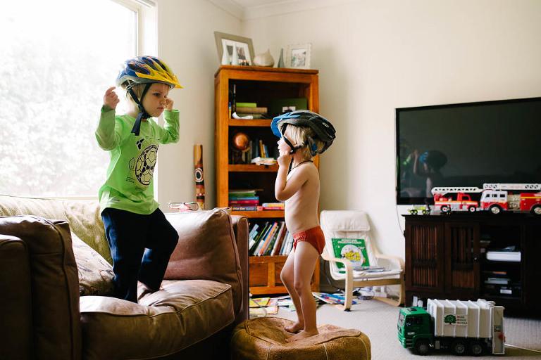 Boys with bike helmets - Family Documentary Photography