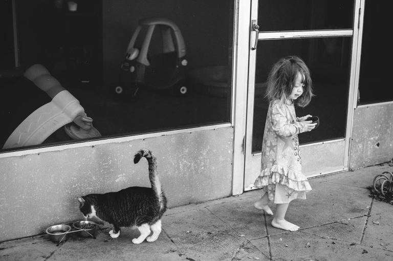 Girl, Cat and Breakfast - Family Documentary Photography