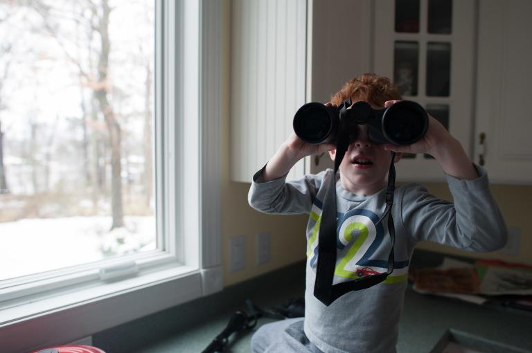 boy with binoculars - Family Documentary Photography