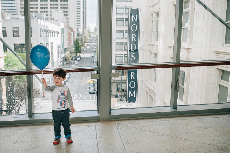 Little boy at Nordstrom with balloon - At the Store, Family Documentary Photography