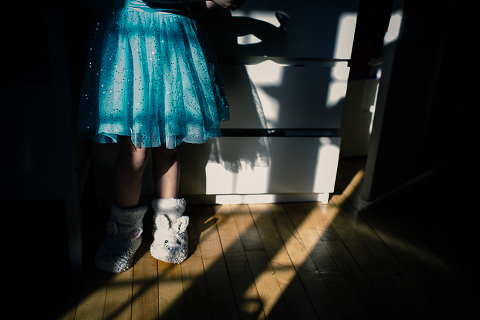 Little girls slippers in shadows - Family Documentary Photography