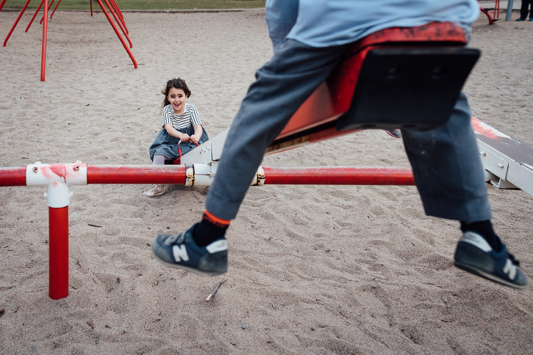 Kids on seesaw - Family Documentary Photography