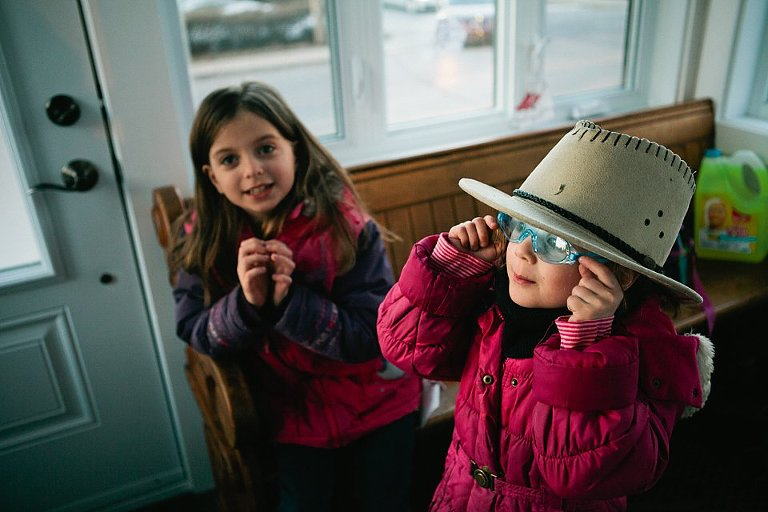 Kids in hat and mask - Family Documentary Photography