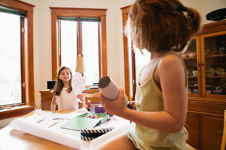 little girls crafting - Family Documentary Photography