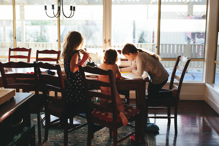 Kids at dining room table - Family Documentary Photography