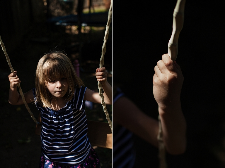 Girl on swing - Family Documentary Photography
