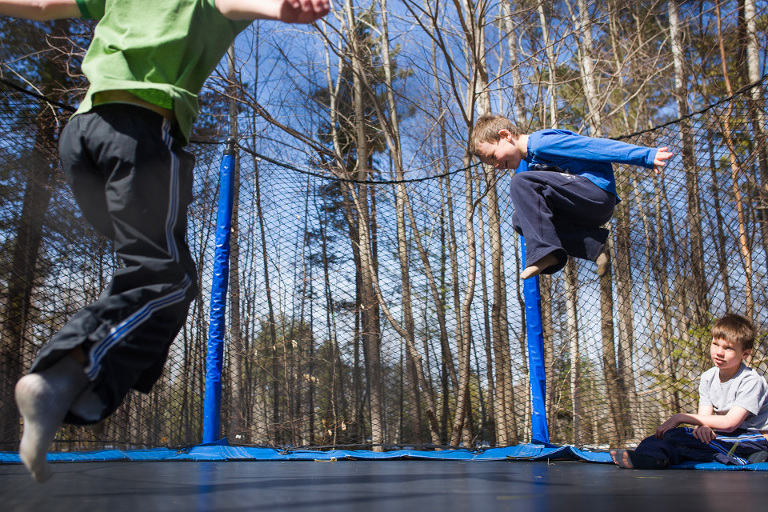 boys on trampoline - Family documentary Photography