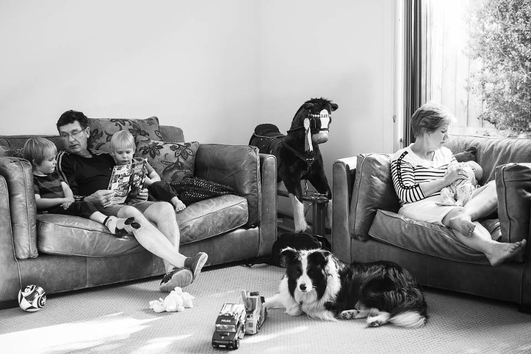 family in living room  - Family Documentary Photography
