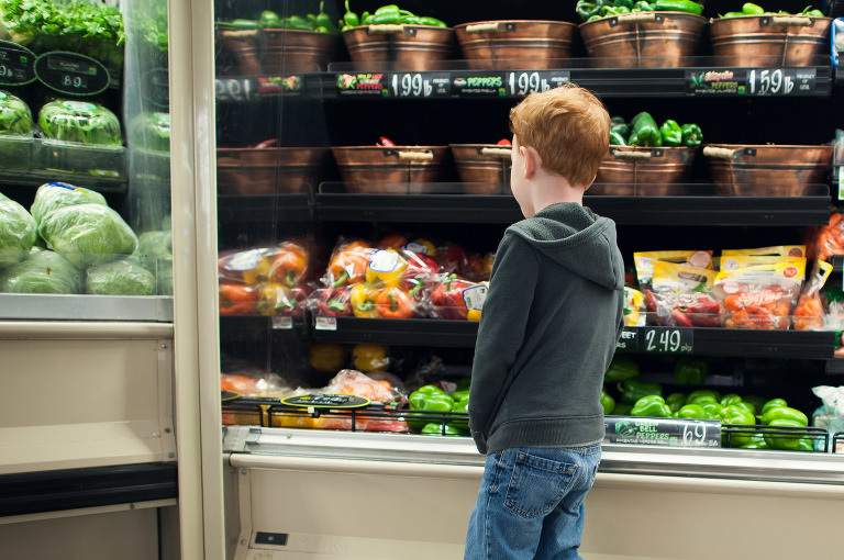 Boy at grocery store - At the Store, Family Documentary Photography