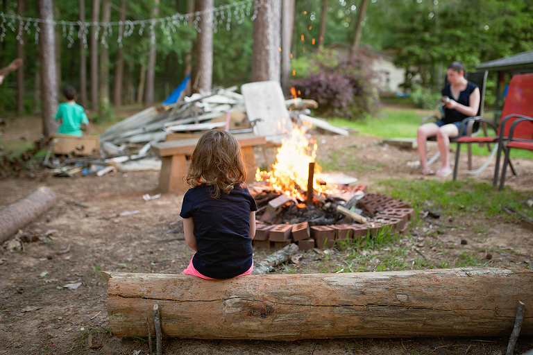 girl at campfire - Family Documentary Photography