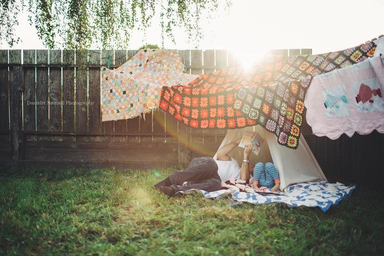 backyard blanket fort - Outside - Documentary Family Photography