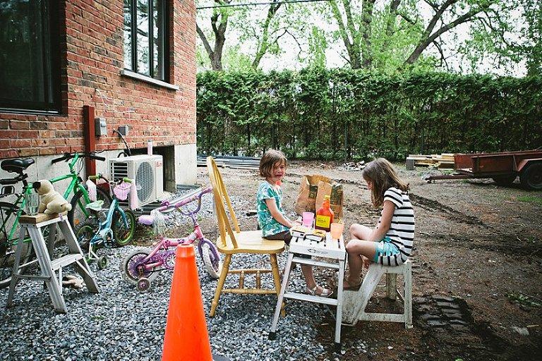 girls having backyard picnic - Family Documentary Photography