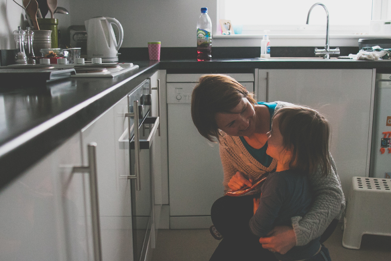 Mom and Child in kitchen - Family Documentary Photography