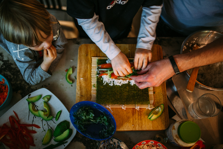 Family making sushi - Perfectly Real Artist