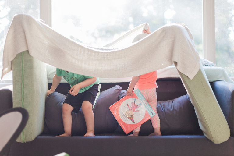 Kids in couch fort - Family Documentary Photography