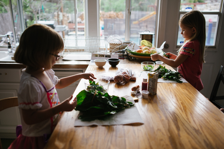girls crafting at kitchen table - Family Documentary Photography