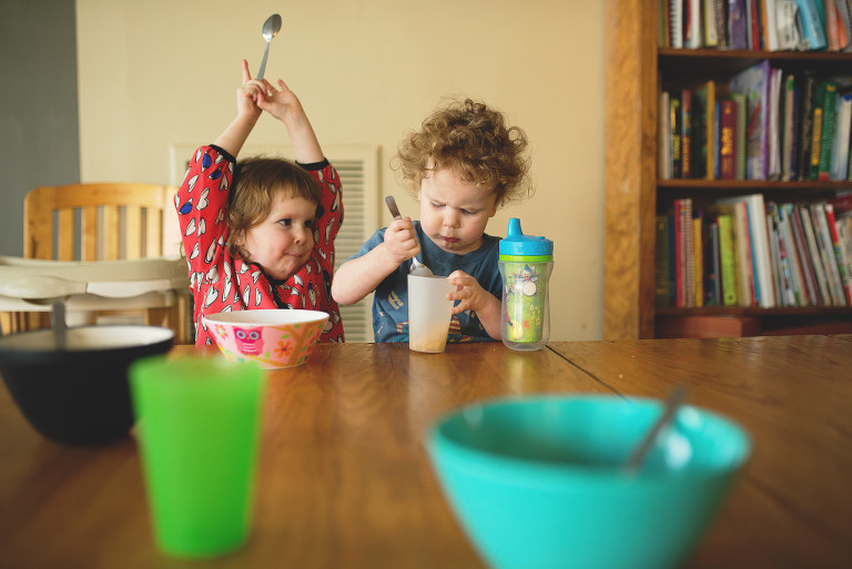 kids at breakfast table - family documentary photography