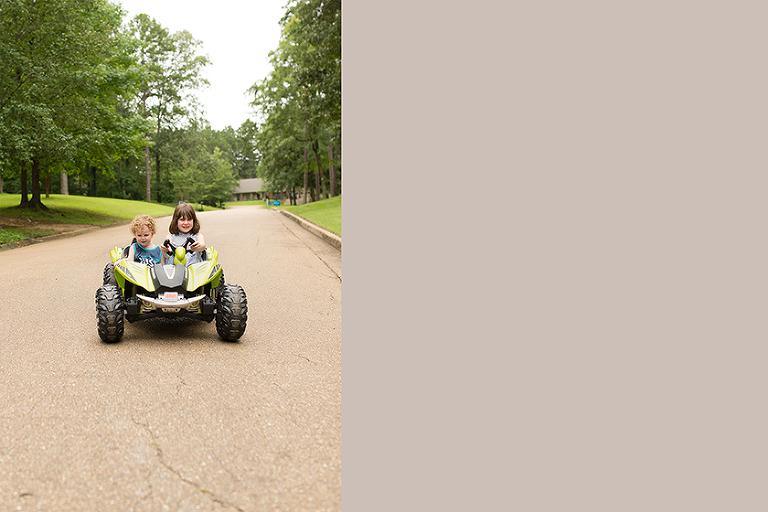 kids on four wheeler - on the go; family documentary photography