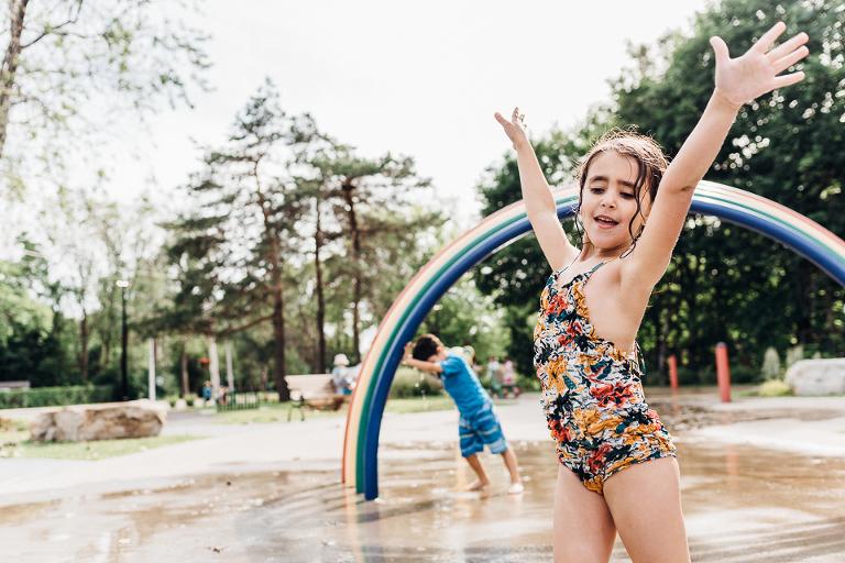 kids playing on splash pad