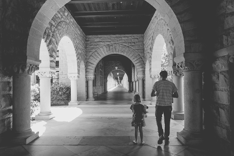father and daughter in archway - Family Documentary Photography