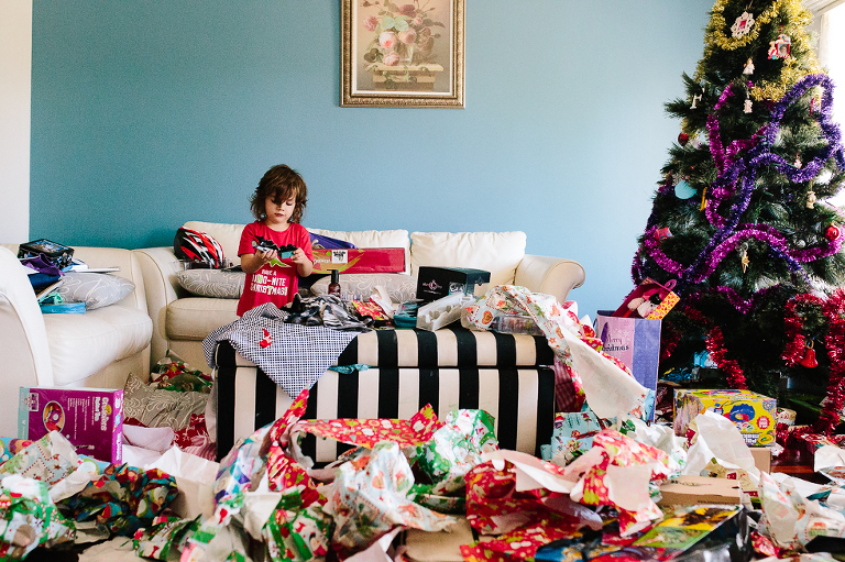 Boy on christmas morning - Family Documentary Photography