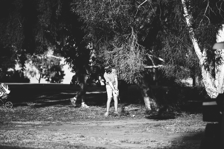 Boy golfing - Documentary Family Photography