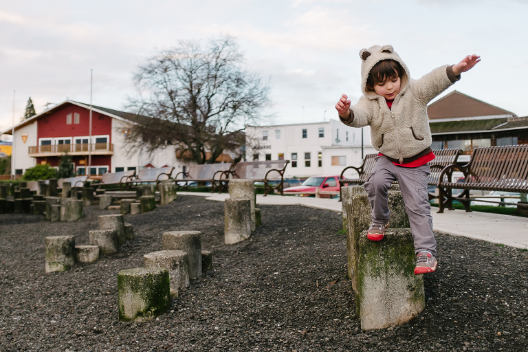 boy jumping off step - Documentary Family Photography