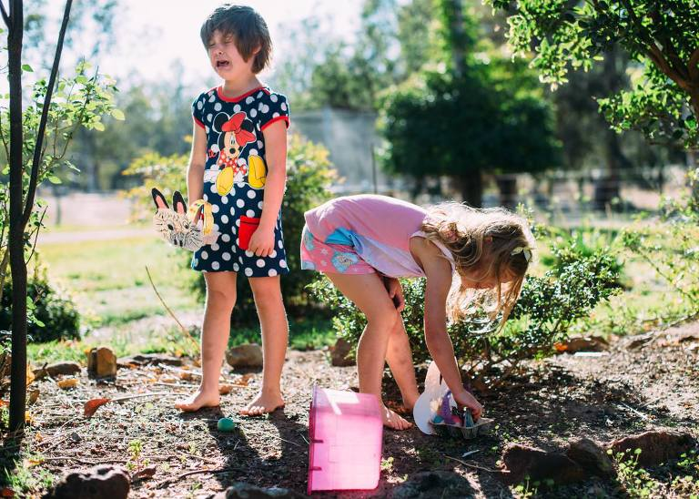 angry girl in garden - Documentary Family Photography