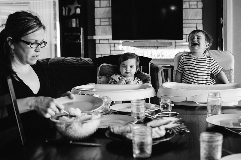 kids wait impatiently for dinner - Documentary Family Photography
