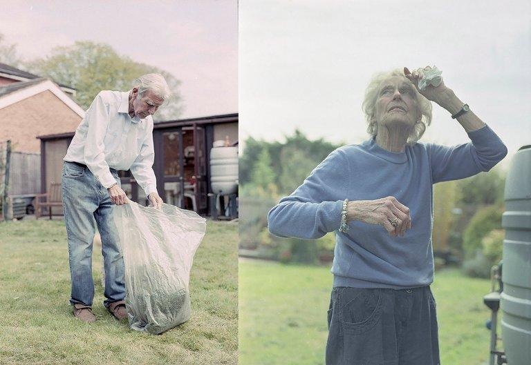 elderly man and woman do yard work -Documentary Family Photography