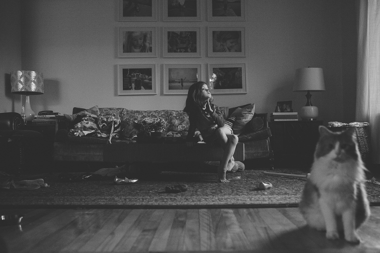 girl plays in living room - Documentary Family Photography