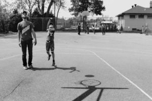 kids play basket ball at park - Documentary Family Photography