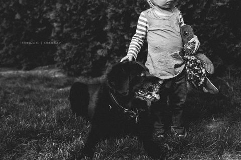 girl with dolls and dog - Documentary Family Photography