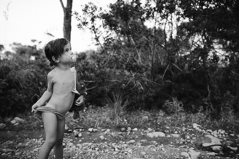 child outside in underwear - documentary family photography