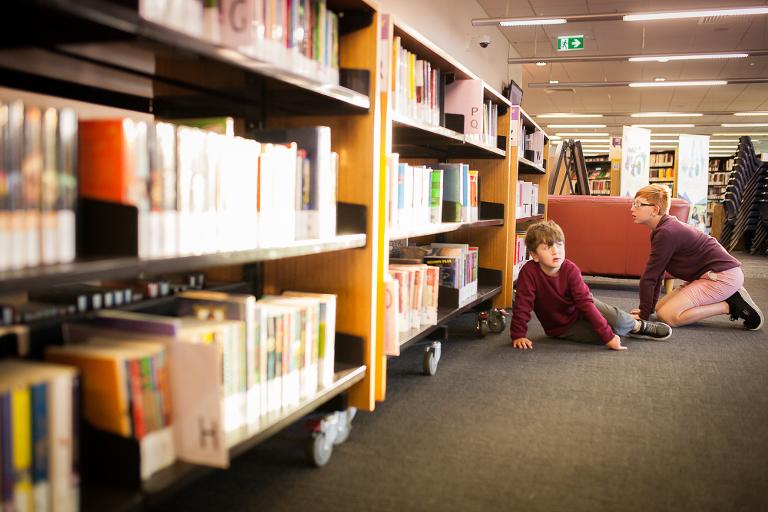 boys at library - Documentary Family Photography