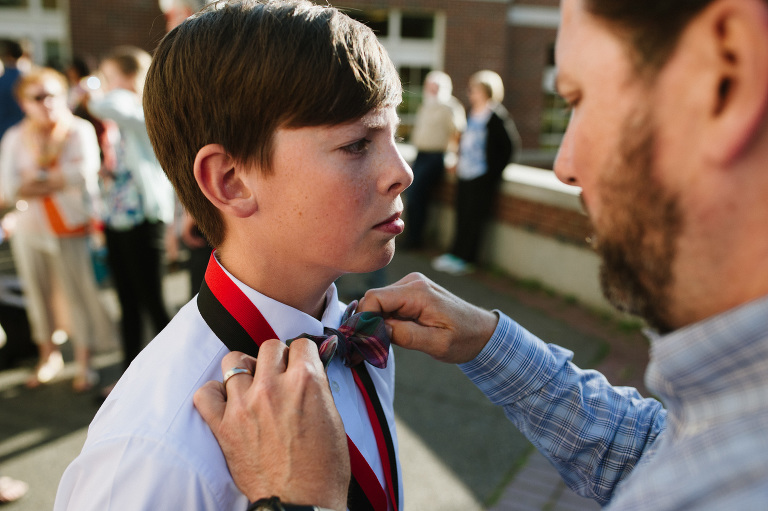 Dad ties son's bow tie - Documentary Family Photography