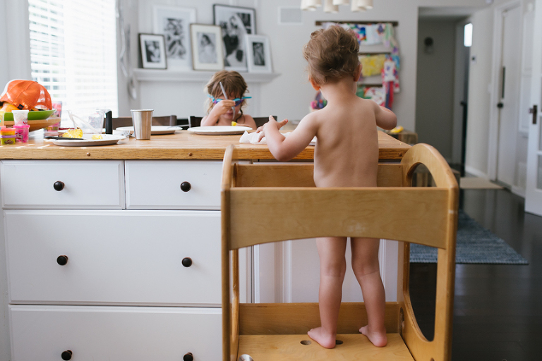 naked child in high chair - Documentary Family Photography