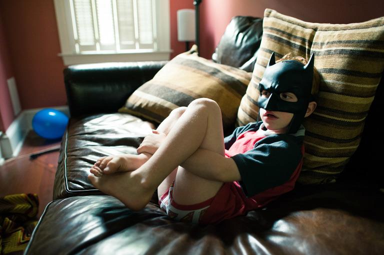 boy in batman mask - Documentary Family Photography