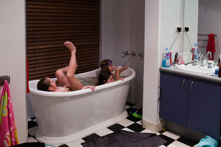 kids in bath tub - Documentary Family Photography
